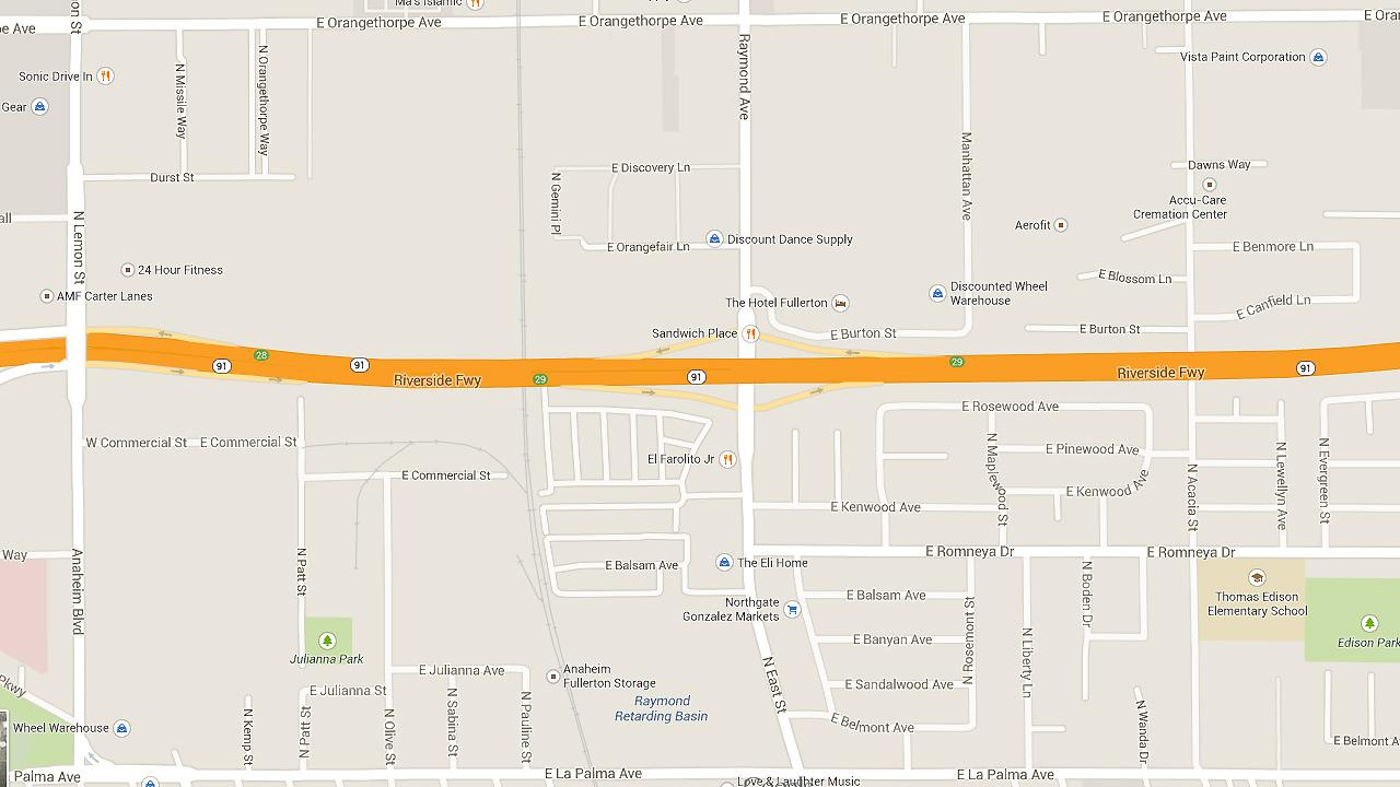 A map shows East Street at the 91 Freeway in Anaheim.