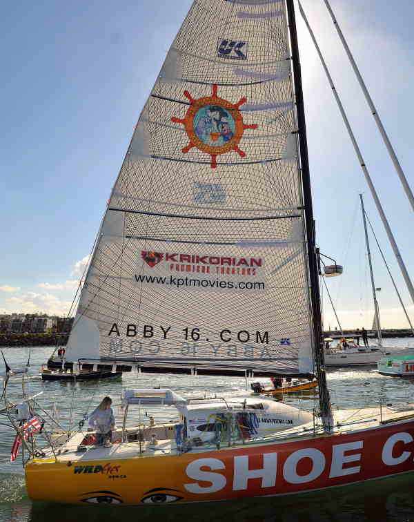 Abby Sunderland, 16, sets sail on her sailboat Wild Eyes as she leaves for her world record attempting journey Saturday, January 23, 2010, in Marina del Rey, Calif.