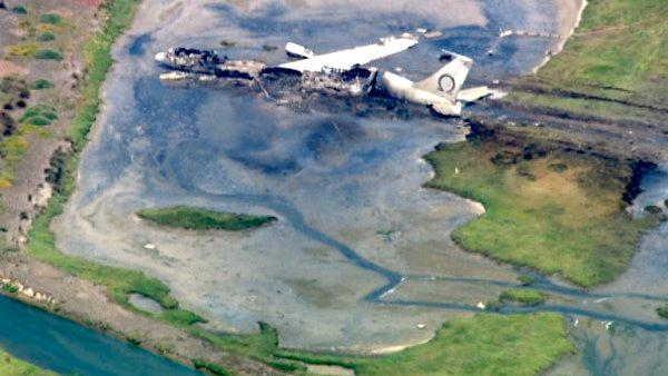 An aerial view of the wreckage from the Boeing 707 plane crash at Point Mugu naval air
