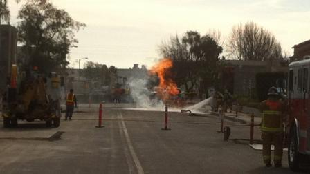 Crews repairing the citys water system ruptured a gas line, igniting a fire on Morse Avenue in Ventura Thursday.