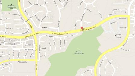 A map indicates Avenida de Los Arboles near Kensington Avenue in Thousand Oaks, where a bicyclist was struck by a hit-and-run driver on Friday, July 13, 2012.