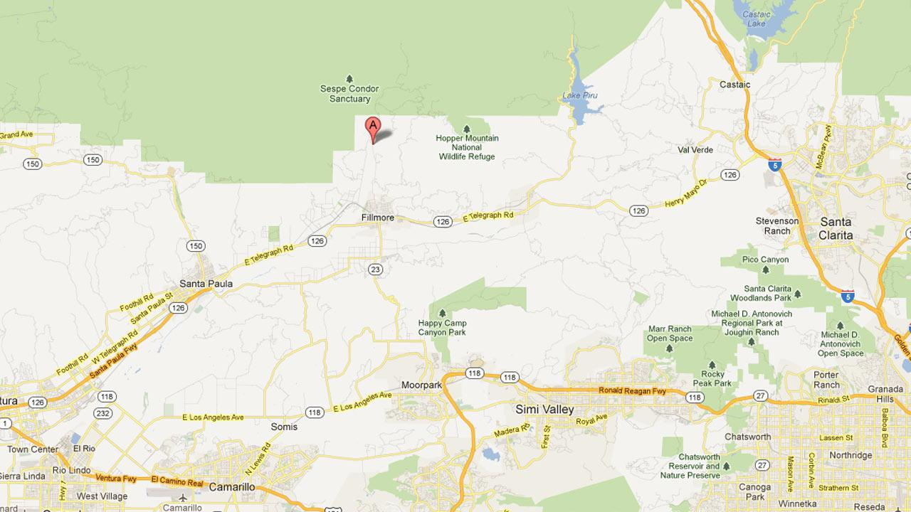A map indicates the location of a fire that erupted in Los Padres National Forest in Ventura County on Wednesday, Aug. 15, 2012.
