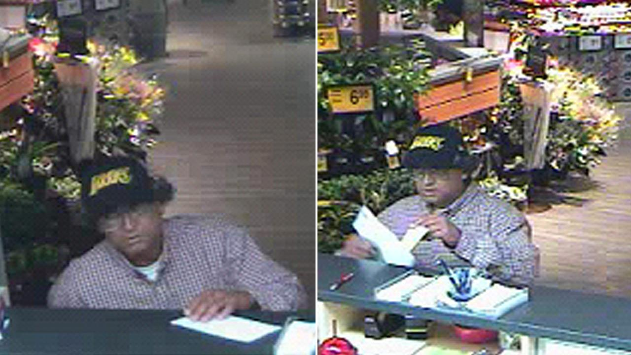 A robbery suspect is shown in surveillance images at a U.S. Bank branch inside a Vons store on the 6000 block of Telegraph Road on Thursday, Aug. 16, 2012.