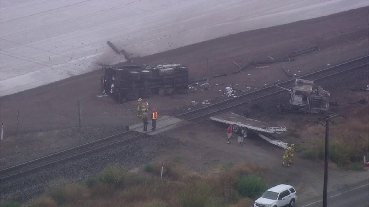 A Metrolink train struck a truck on the tracks near Camarillo on Friday, Aug. 24, 2012.