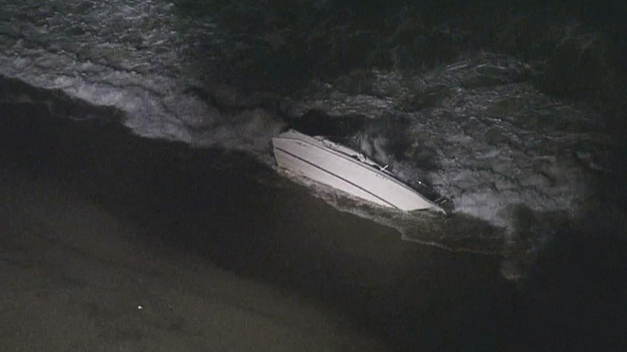 A small boat capsized off the coast of Oxnard on Sunday, Sept. 2, 2012, but its occupants made it to shore without major injuries.