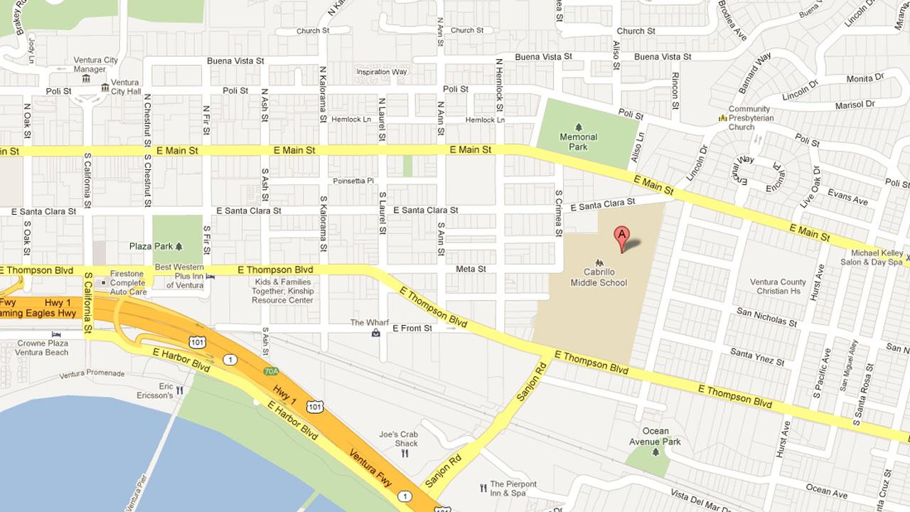 A map indicates the location of Cabrillo Middle School, where a student threatened police with a knife on Tuesday, Sept. 11, 2012.