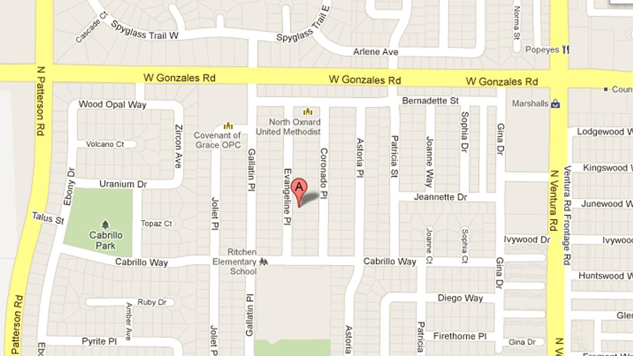 A map indicates the location where a burglary took place on  1600 block of Evangeline Place in Oxnard, Calif. on Monday, Sept. 24, 2012.
