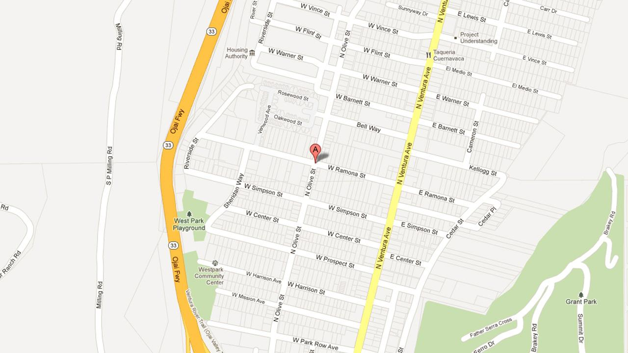 A map indicates the location of a robbery in the 700 block of N. Olive Street in Ventura on Friday, Sept. 28, 2012.