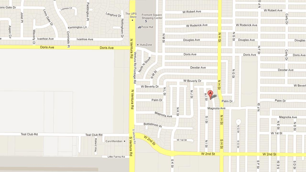 A map indicates the location of a police standoff on the 300 block of North I Street on Wednesday, Oct. 3, 2012.