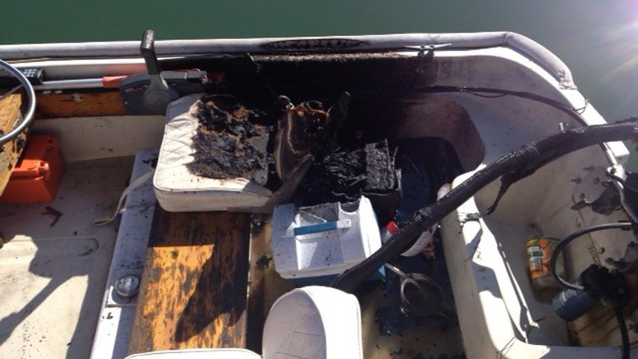 This photo shows damage from a boat fire in the Ventura Keys on Friday, Oct. 12, 2012.