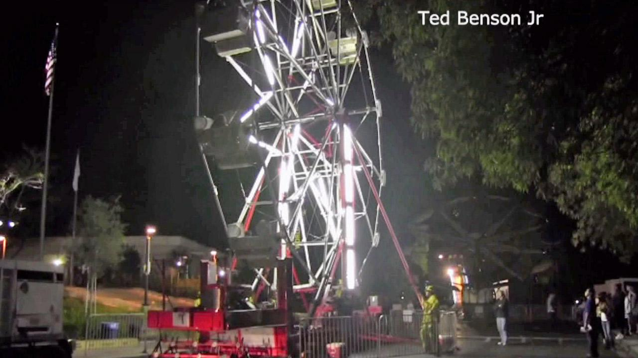 Riders were rescued from a Ferris wheel that became stuck during an event in Thousand Oaks on Saturday, Oct. 20, 2012.