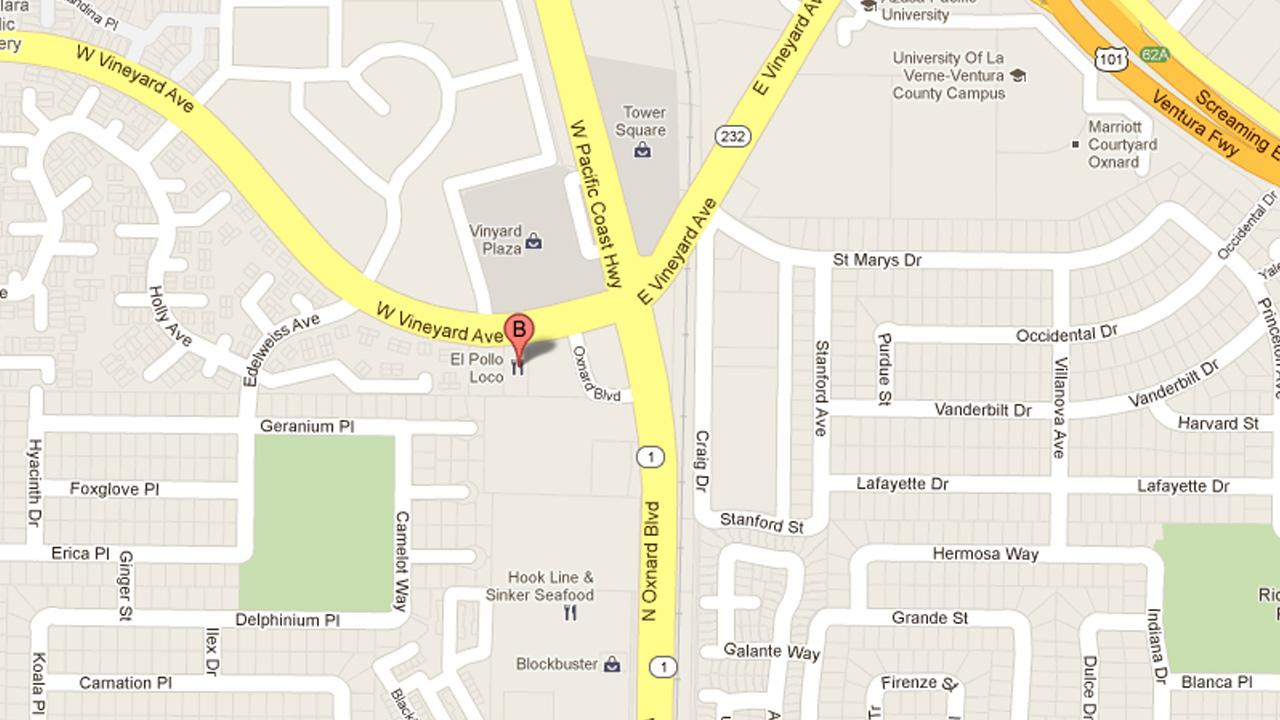 This Google Maps image indicates the location where an alleged armed robbery took place in Oxnard on Friday, Oct. 19, 2012.