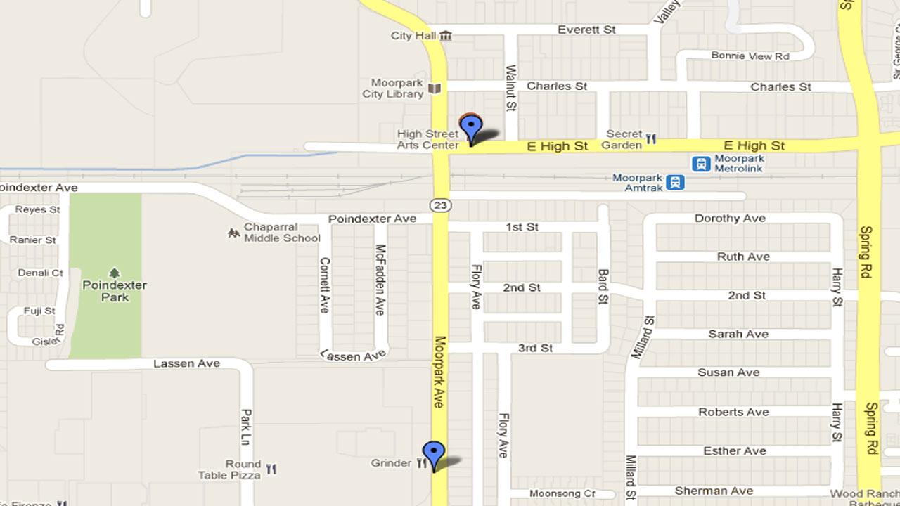 A Moorpark map indicates the areas where two robberies occurred within a day of each other in the parking lot of 11 West Moorpark Avenue on Monday, Oct. 29, 2012 and at 74 East High Street on Tuesday, Oct. 30 2012.