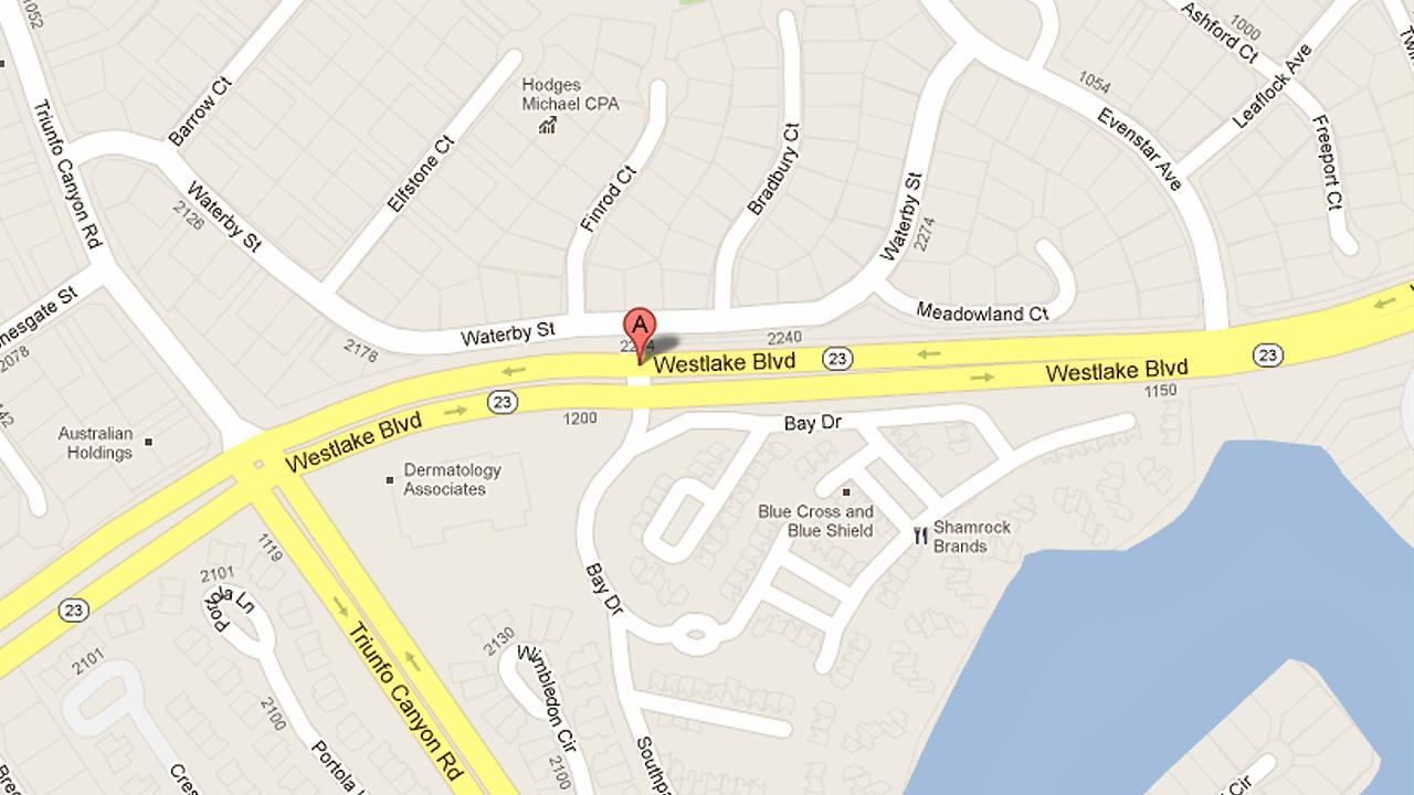 A map shows the intersection of Westlake Boulevard and Bay Drive in Thousand Oaks where a motorcyclist and car collided on Saturday, Nov. 3, 2012. The motorcyclist was killed and the driver had minor injuries.