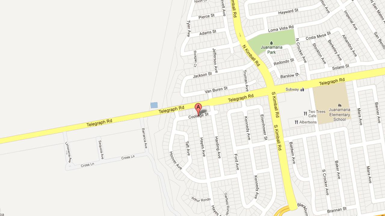 A map indicates the area in the 100 block of Hayes Avenue in Ventura were police responded to a report of a structure fire Saturday, Nov. 17, 2012.