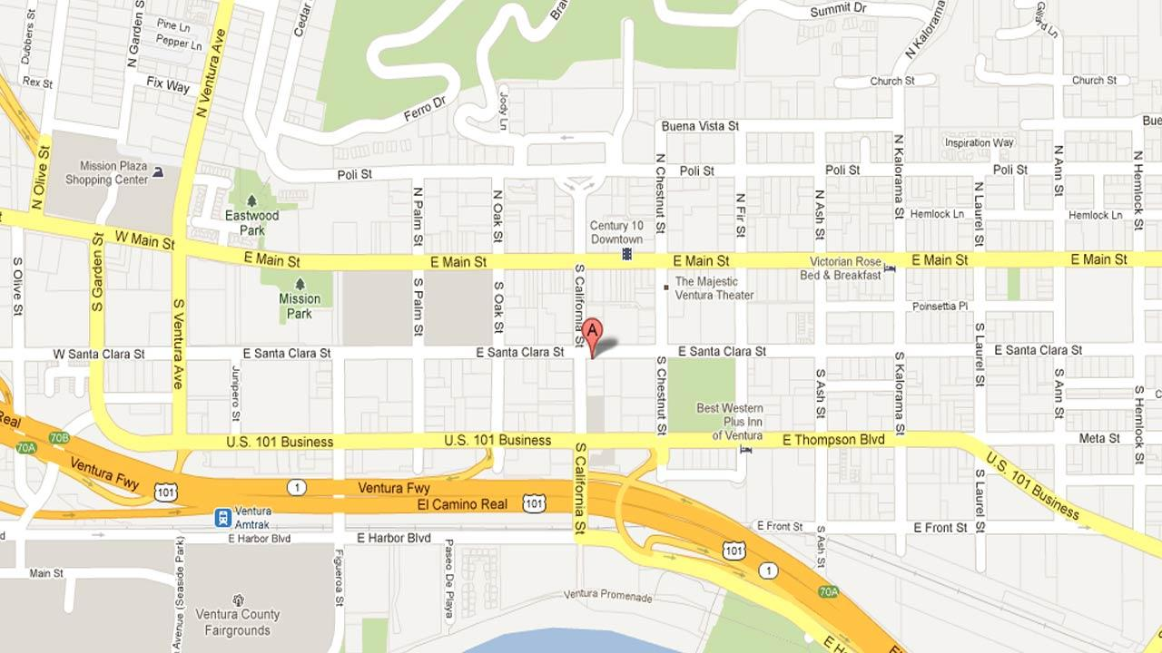 A map indicates the area where a 21-year-old man was stabbed on the 500 block of East Santa Clara Street in Ventura, Thursday, Nov. 22, 2012.
