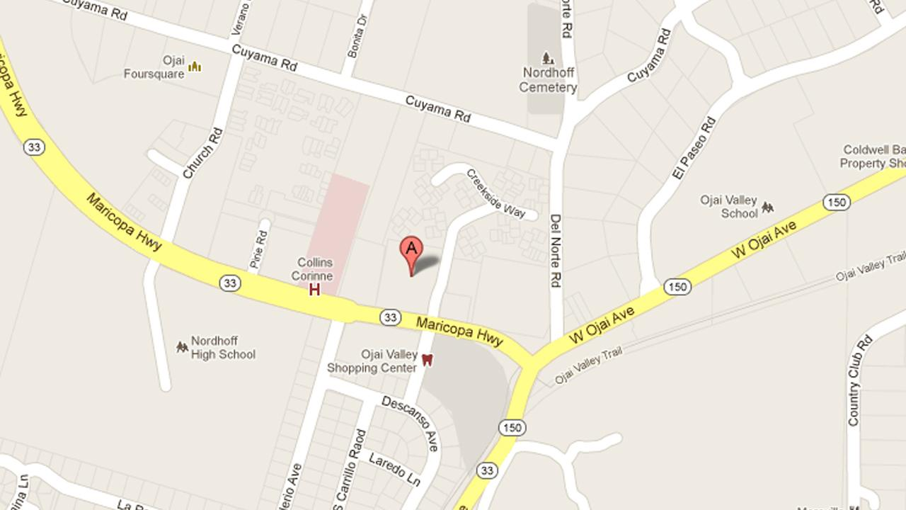 This map shows a location in Ojai, where an armed robbery took place on Thursday, Nov. 22, 2012.