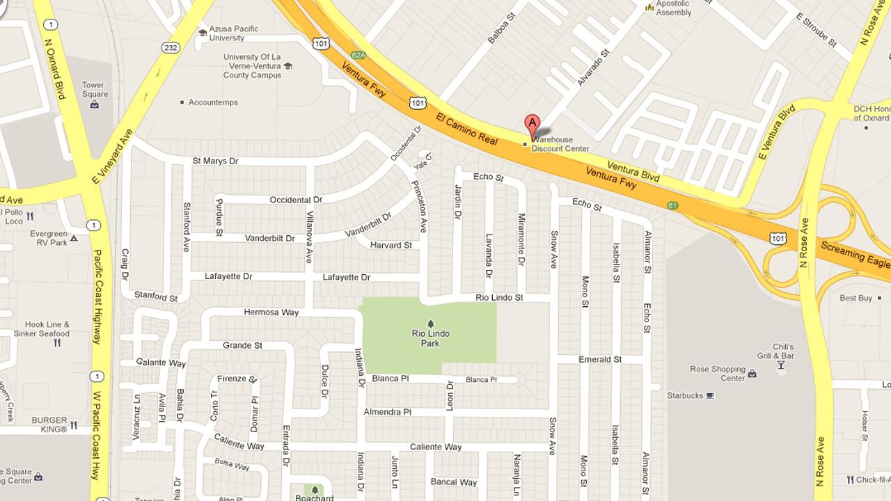 A map indicates the location of a stabbing attack on the 900 block if South Ventura Boulevard.