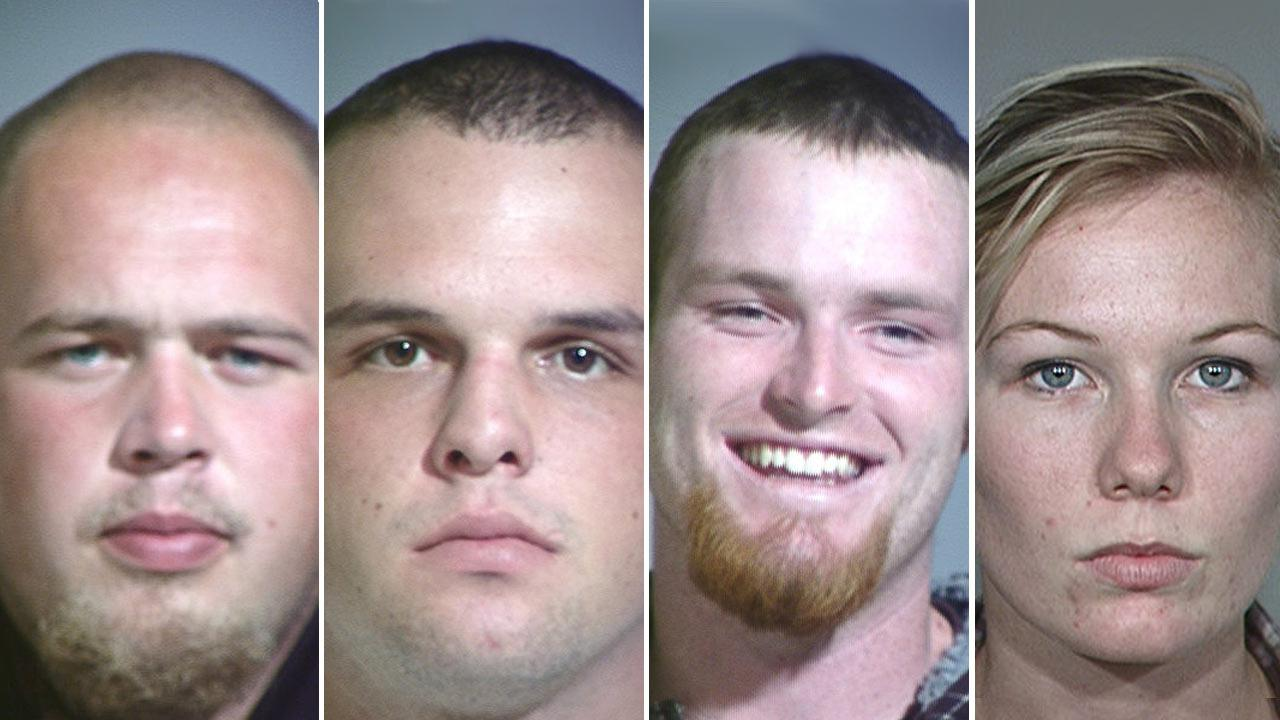 Kirk Smets (left), 19, Andrew Martin (center left), 20, Forrest Darrough (center right), 20, and Mya Braschler (far right), 20, all of Ventura, were arrested Wednesday, Dec. 12, 2012.