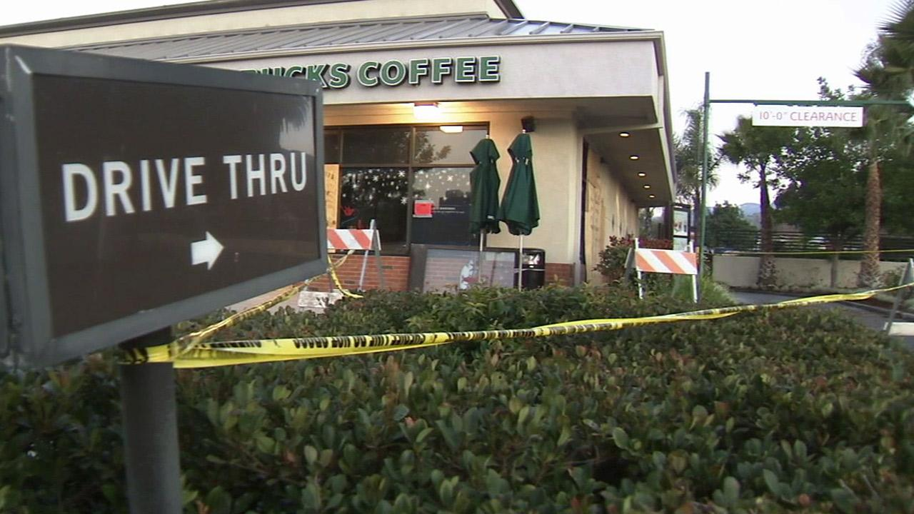 Tape cordons off a Starbucks in Fillmore after a fatal car crash in this December 2011 photo.