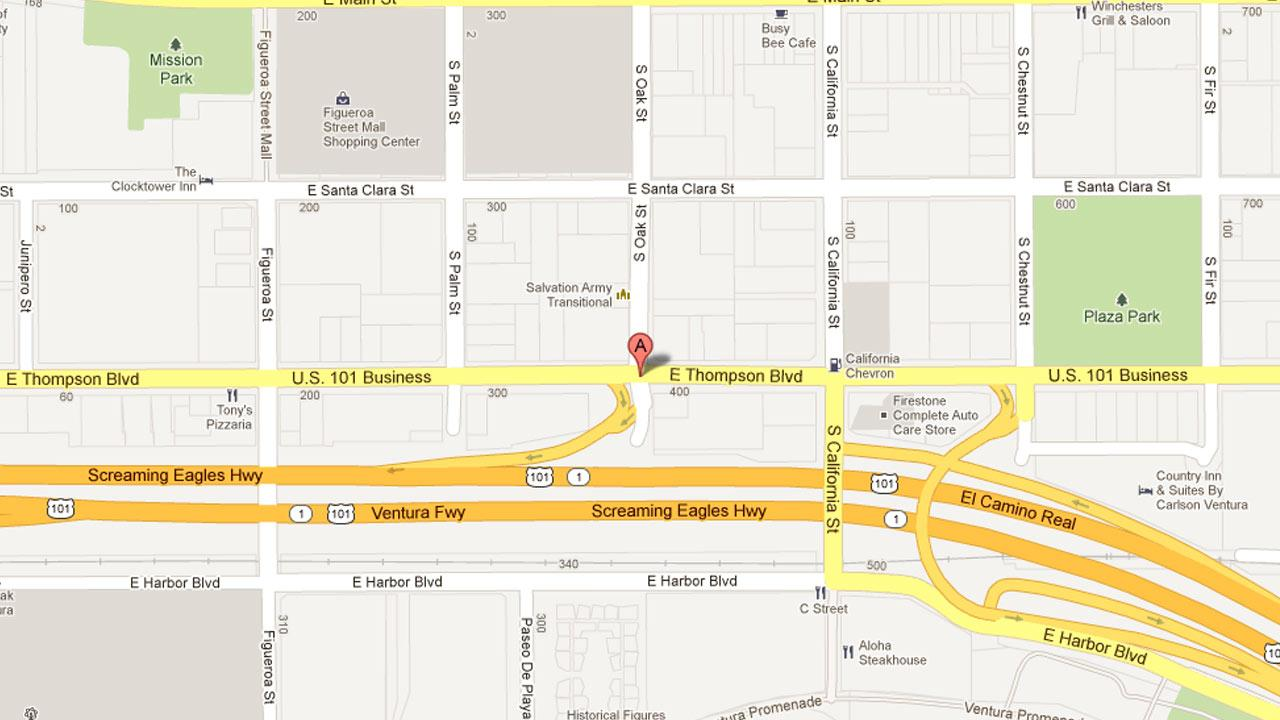 A map indicates the Spirit Gas stations location in the 400 block of Thompson Boulevard in Ventura.