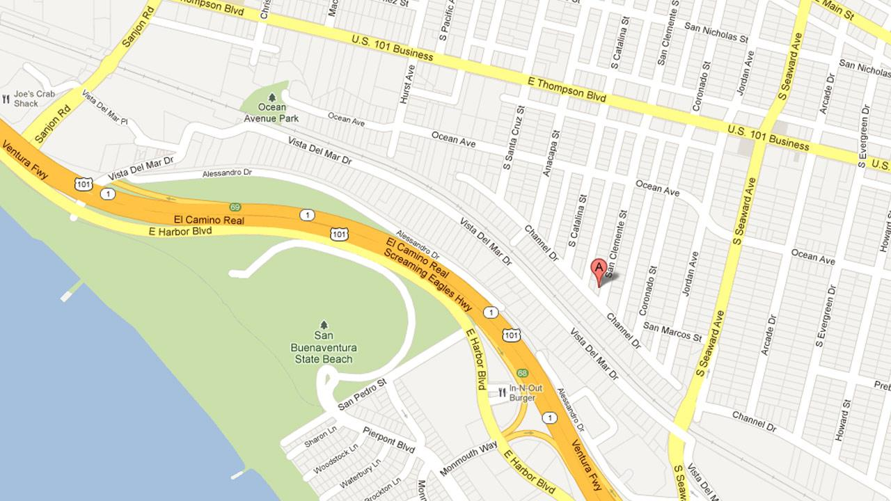 A map indicates the location of a house fire on the 500 block of Clemente Street that broke out on Friday, Jan. 11, 2013.
