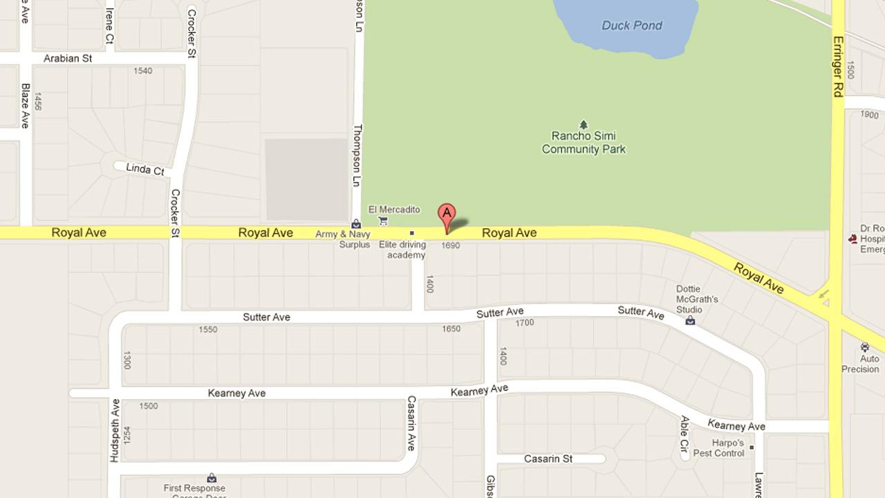 A map indicates the area near the 1700 block of Royal Avenue in Simi Valley where Eric Logue, 34, was arrested for resisting arrest on Saturday, Jan. 12, 2013.