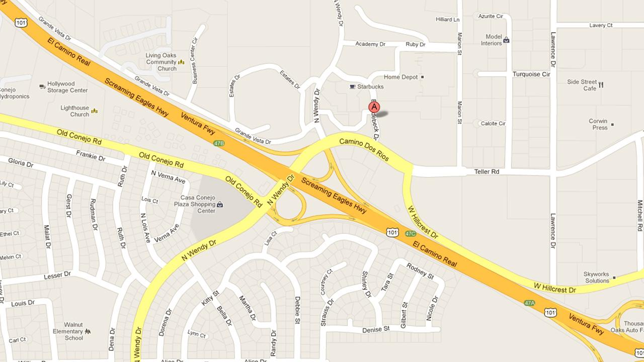 A map indicates the location where Rod Hormell, a financial planner, was arrested in the 900 block of Broadbeck Drive in Newbury Park on Tuesday, Feb. 19, 2013.