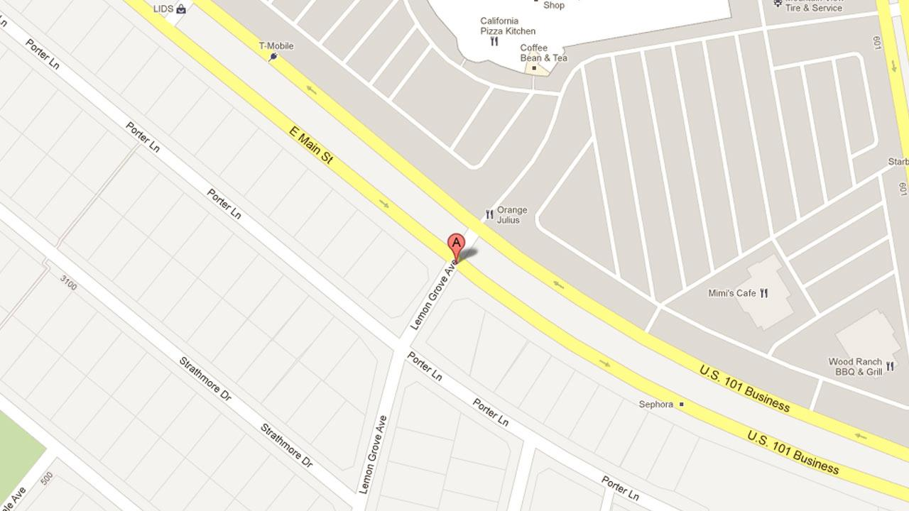 A map indicates the area near the 3200 block of East Main Street in Ventura where two men robbed McConnells Ice Cream Shop on Saturday March 9, 2013.