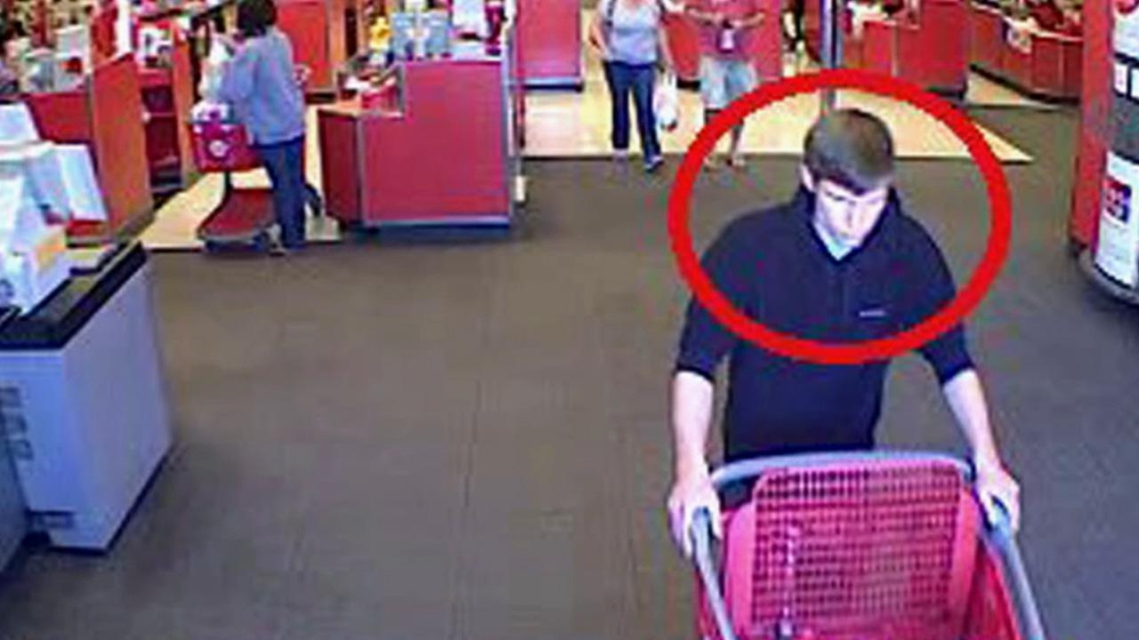 A surveillance image from a Target store at 4200 E. Main St. in Ventura highlights a suspect wanted for stealing a wallet from a local Ventura-area church and going on a shopping spree at various stores across the county.