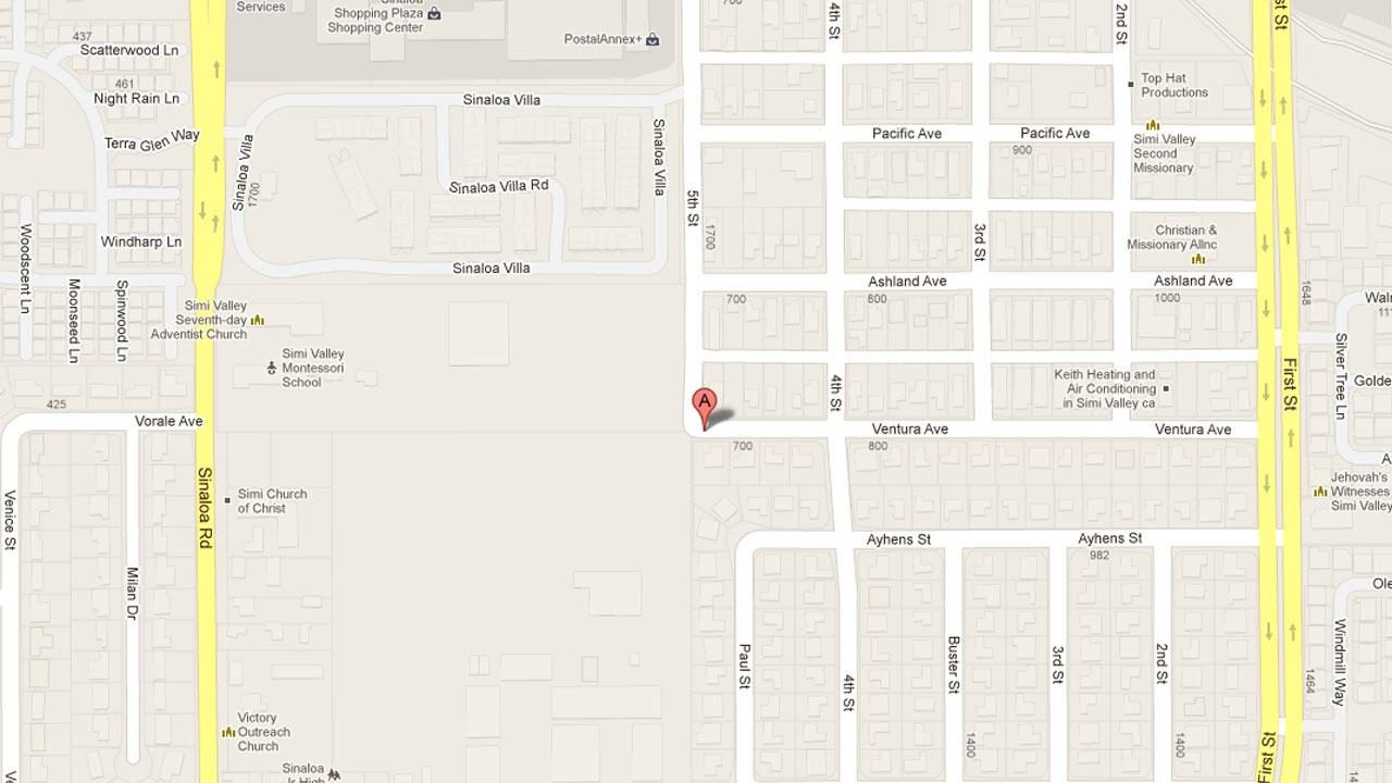 A map indicates the area near the 700 block of Ventura Avenue where a man was allegedly shot on Sunday, April 21, 2013.