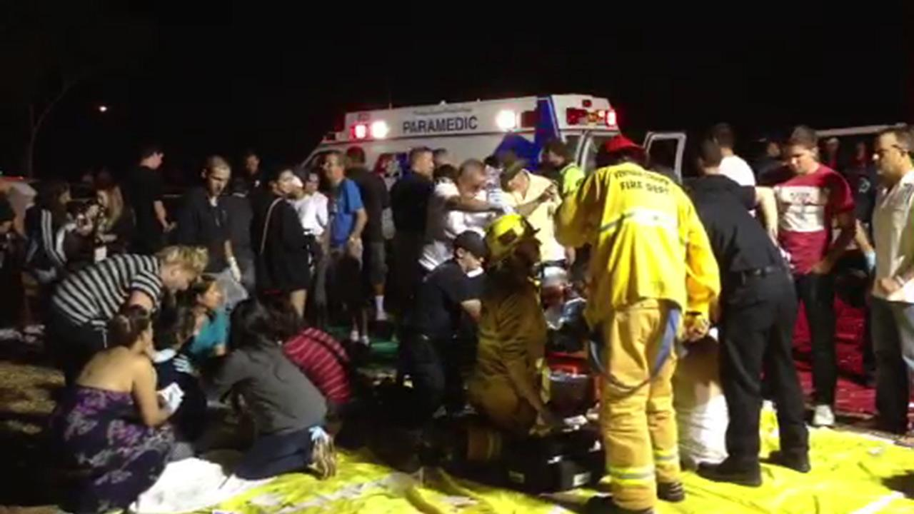 People are being treated at a triage following a fireworks mishap in Simi Valley on Thursday, July 4, 2013.
