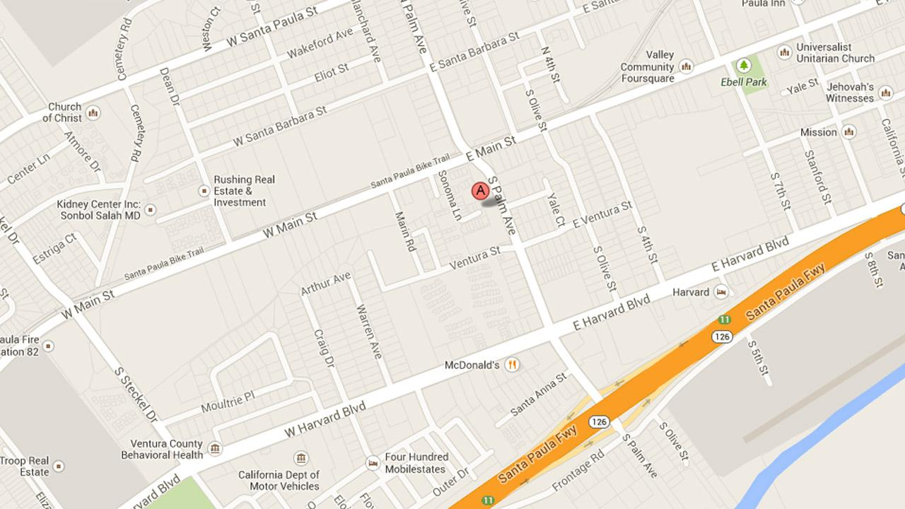 A map indicates the location of a shooting investigation in the 100 block of Sonoma Lane in Santa Paula on Saturday, Aug. 3, 2013.