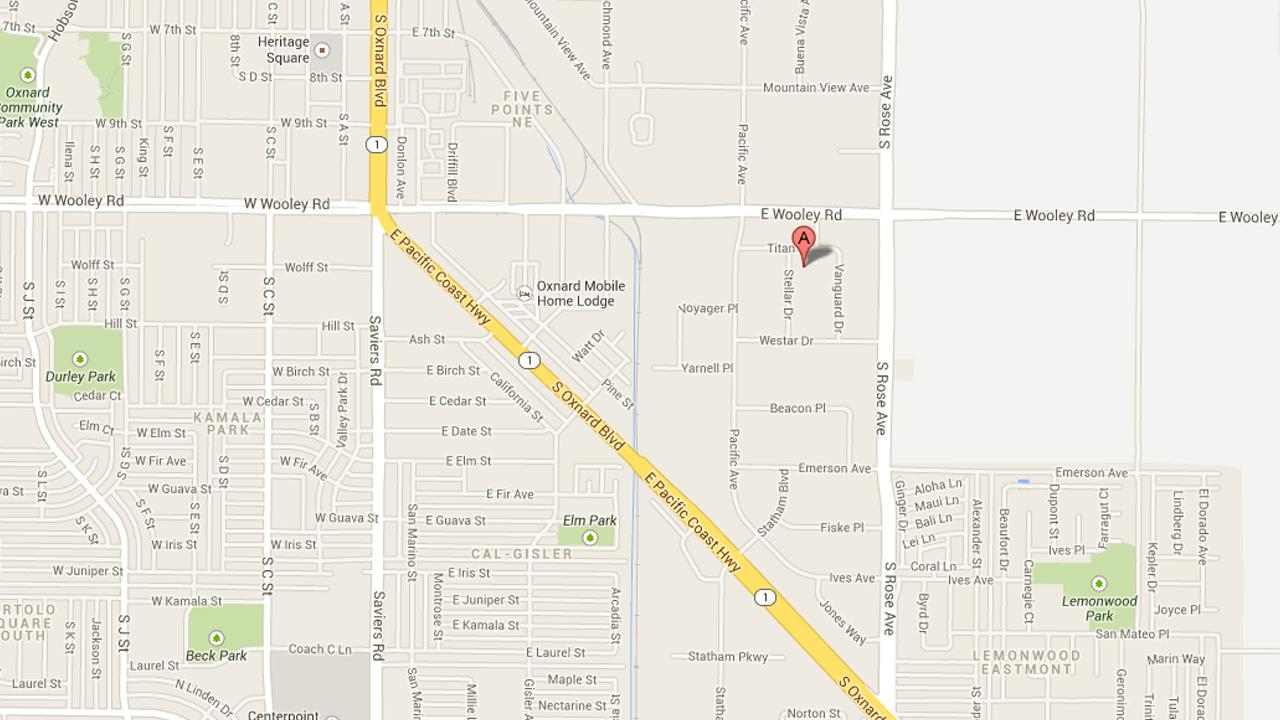 A map indicates the location of an hours-long standoff in the 1200 block of Stellar Drive in Oxnard on Monday, Aug. 2, 2013.