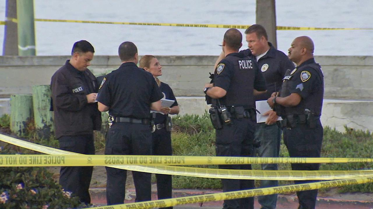 Authorities investigate after a man was shot and killed by Port Hueneme police on Friday, Sept. 6, 2013.