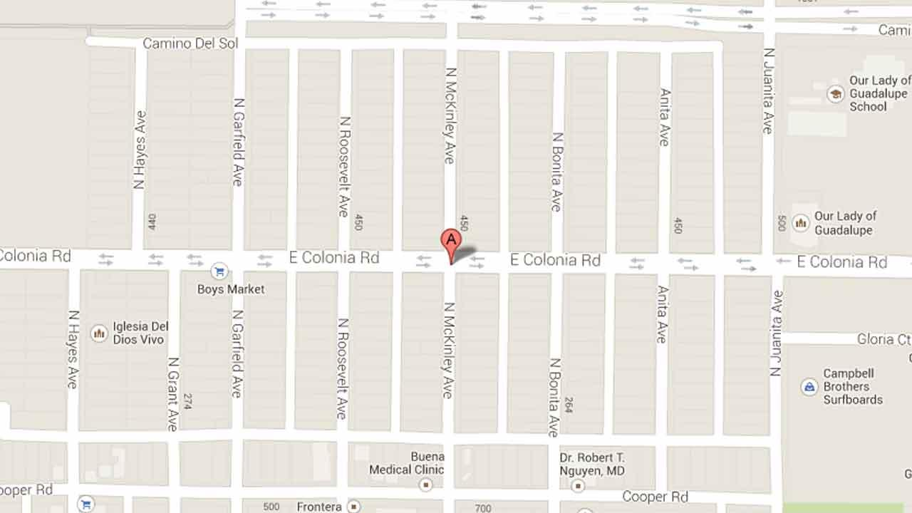 A map indicates the intersection of Colonia Road and McKinley Avenue in Oxnard where police responded to reports of shots fired Thursday, Nov. 14, 2013.