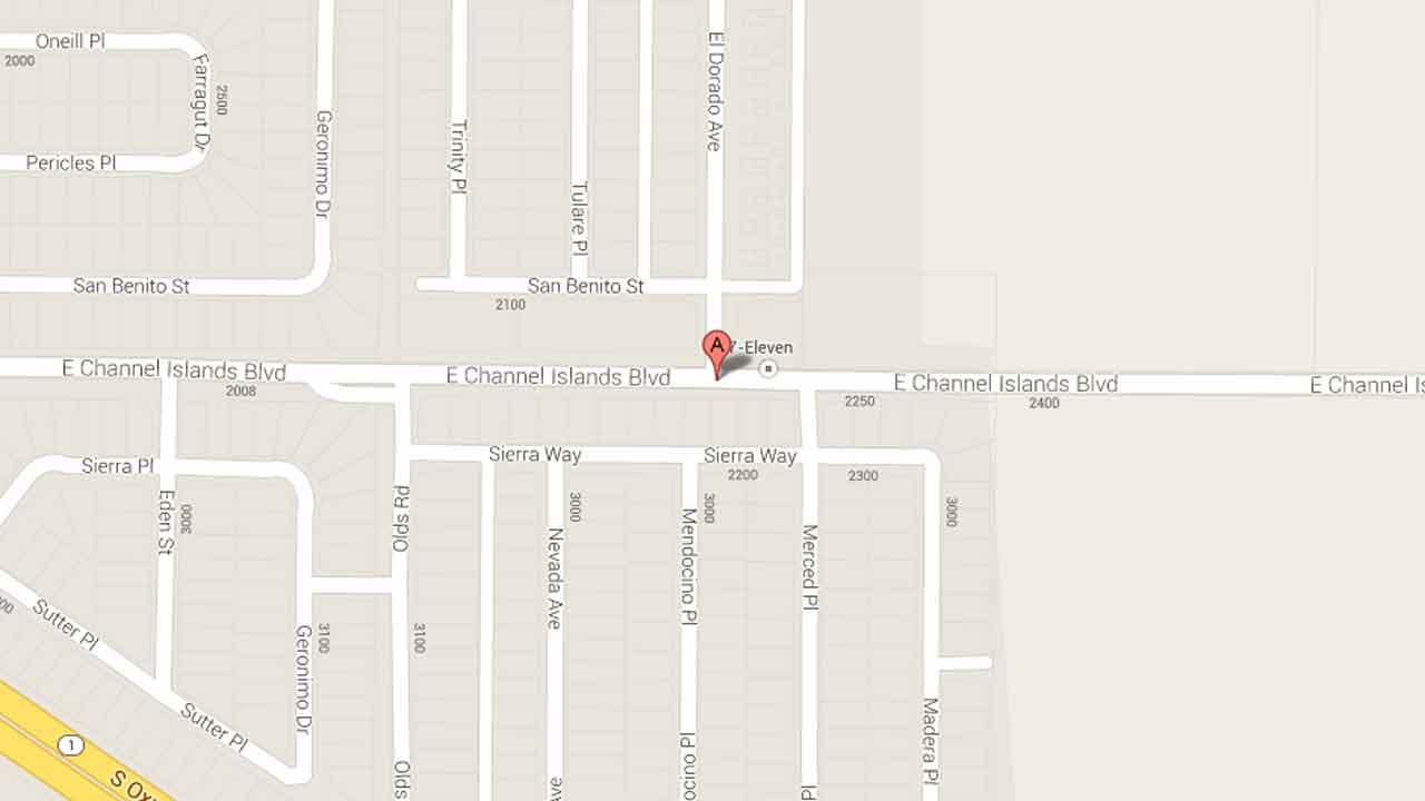 A map indicates the area near the 2200 block of East Channel Islands Boulevard in Oxnard where a suspect robbed a 7-Eleven Saturday, Nov. 16, 2013.