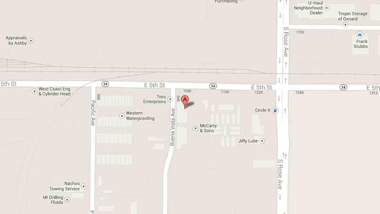 A map indicates the area near the 1600 block of East Fifth Street in Oxnard where Eduardo Hernandez, 40, was arrested for arson Saturday, Dec. 21, 2013.