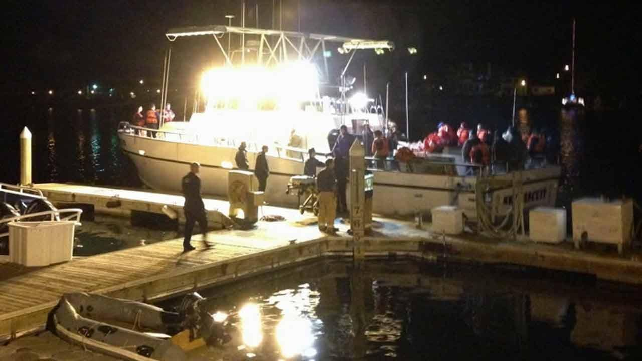 A vessel carrying about two dozen people ran aground in Anacapa Island off the coast of Port Hueneme in Ventura County Monday, Dec. 30, 2013.