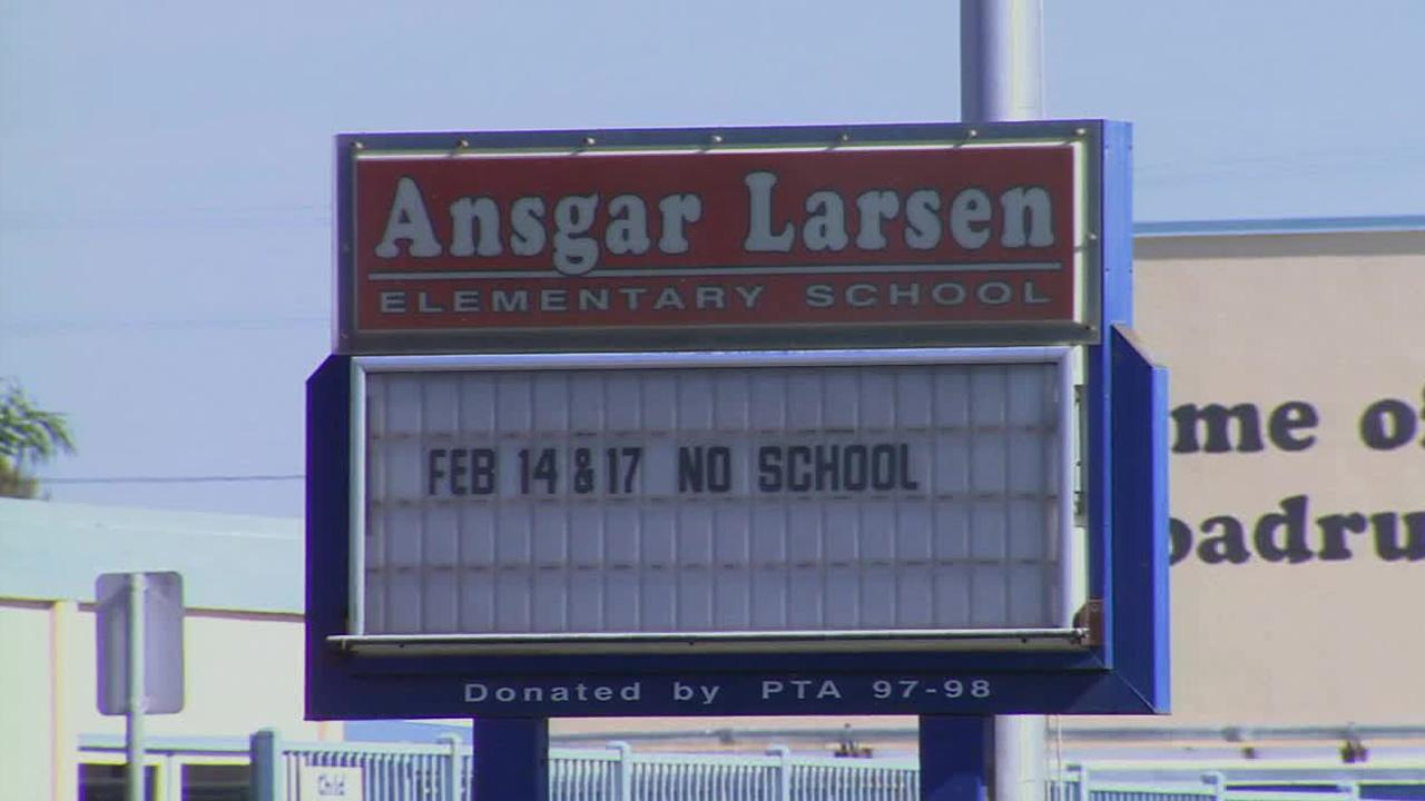 A sign for Ansgar Larsen Elementary School in Oxnard is seen on Wednesday, Feb. 5, 2014.