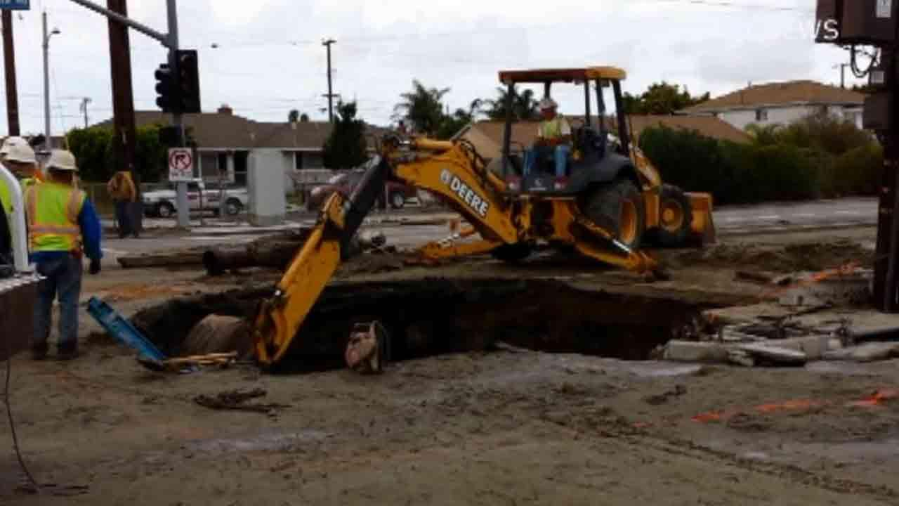 A 20-foot by 10-foot large sinkhole was reported at the intersection of Ventura Road and Hemlock Street in Oxnard Sunday, March 2, 2014.