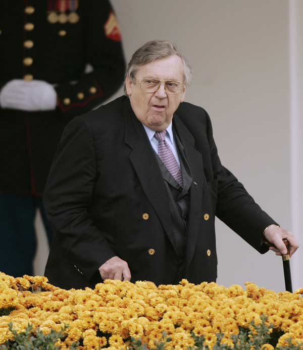 In this Nov. 13, 2006 file photo, former Secretary of State Lawrence Eagleburger leaves the White House in Washington. Friends and former colleagues say Eagleburger, the only career foreign service officer to rise to the position of secretary of state, has died. Word of Eagleburger&#39;s death Saturday, June 4, 2011 came from representatives of former President George H.W. Bush and former Secretary of State James Baker. Eagleburger, who was 80, was a straightforward diplomat whose exuberant style masked a hard-driving commitment to solving foreign policy problems. He held the top post at the State Department for five months when Baker resigned in the summer of 1992 to help George H.W. Bush in an unsuccessful bid for re-election.  <span class=meta>(AP Photo &#47; Ron Edmonds)</span>
