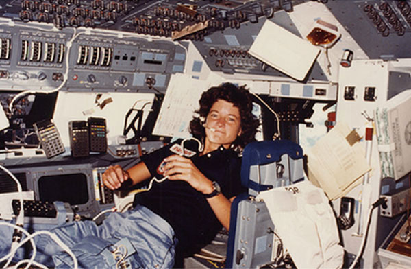 In this photo from 1983, Sally Ride is seen on...