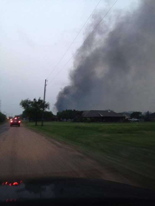 "<div class=""meta ""><span class=""caption-text "">The city of West is seen from Haven Street after an explosion at a fertilizer plant on Wednesday, April 17, 2013. (Twitter.com/DFWscanner)</span></div>"