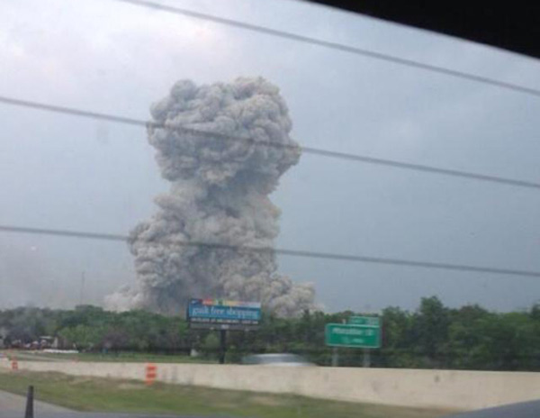 Smoke is seen in the city of West after an explosion at a