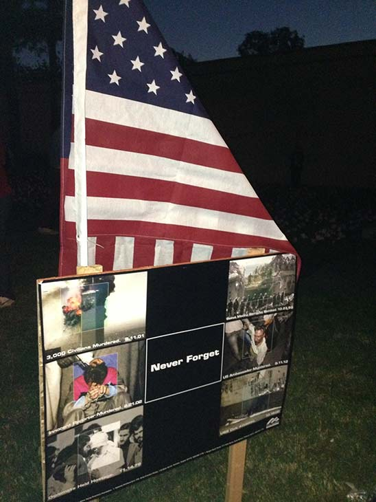 High school student John Wood put up a memorial in front of the Upland City Hall on Wednesday, Sept. 11, 2013, to remember the victims of the Sept. 11 terrorist attacks. <span class=meta>(KABC &#47; John Wood)</span>