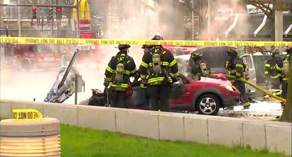 A KOMO-TV news helicopter crashed just after liftoff from the Seattle station&#39;s roof and erupted in flames on Tuesday, March 18, 2014. Two people were killed and another critically injured, according to the Seattle Fire Department.  <span class=meta>(WLS-TV)</span>
