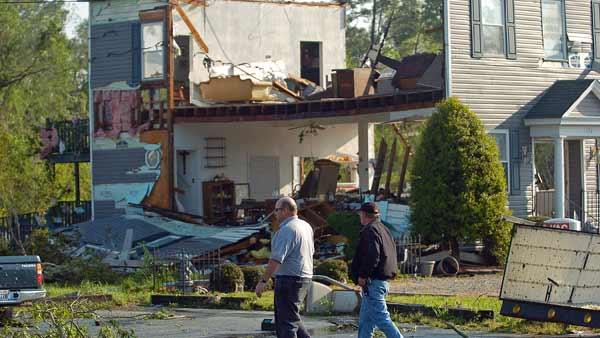 Neighborhoods struck by tornado