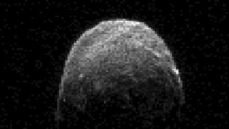This image made from radar data shows asteroid 2005 YU55 when the space rock was at 3.6 lunar distances, which is about 860,000 miles, or 1.38 million kilometers, from Earth.