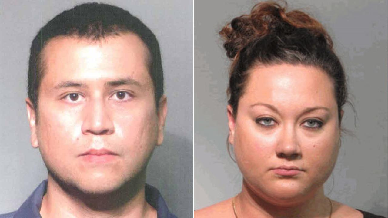 George Zimmerman (left) and his wife Shellie Nichole Zimmerman (right) appear in booking photos.